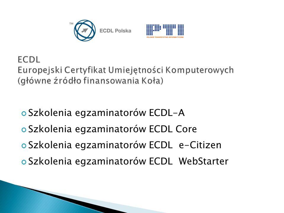 Szkolenia egzaminatorów ECDL-A Szkolenia egzaminatorów ECDL Core Szkolenia egzaminatorów ECDL e-Citizen Szkolenia egzaminatorów ECDL WebStarter