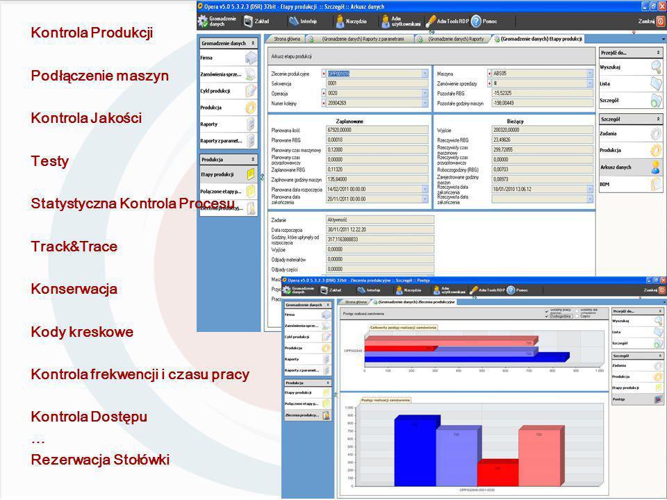 Kontrola Produkcji Podłączenie maszyn Kontrola Jakości Testy Statystyczna Kontrola Procesu Track&Trace Konserwacja Kody kreskowe Kontrola frekwencji i czasu pracy Kontrola Dostępu … Rezerwacja Stołówki