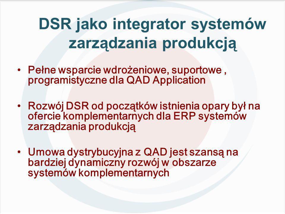 DSR jako integrator systemów zarządzania produkcją Pełne wsparcie wdrożeniowe, suportowe, programistyczne dla QAD Application Rozwój DSR od początków istnienia opary był na ofercie komplementarnych dla ERP systemów zarządzania produkcją Umowa dystrybucyjna z QAD jest szansą na bardziej dynamiczny rozwój w obszarze systemów komplementarnych