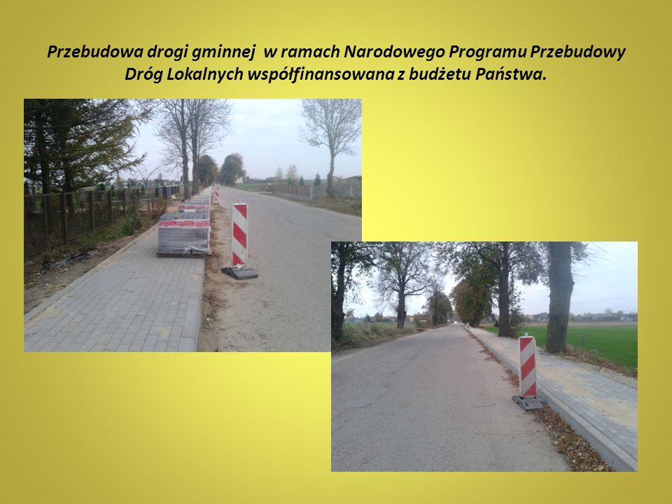 Przebudowa drogi gminnej w ramach Narodowego Programu Przebudowy Dróg Lokalnych współfinansowana z budżetu Państwa.