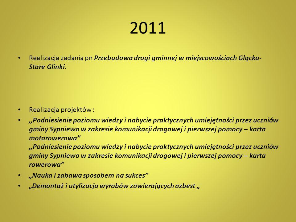 2011 Realizacja zadania pn Przebudowa drogi gminnej w miejscowościach Glącka- Stare Glinki. Realizacja projektów :,,Podniesienie poziomu wiedzy i naby