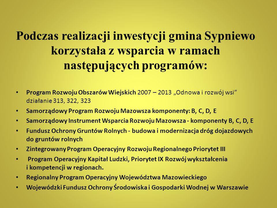 """Podczas realizacji inwestycji gmina Sypniewo korzystała z wsparcia w ramach następujących programów: Program Rozwoju Obszarów Wiejskich 2007 – 2013 """"O"""