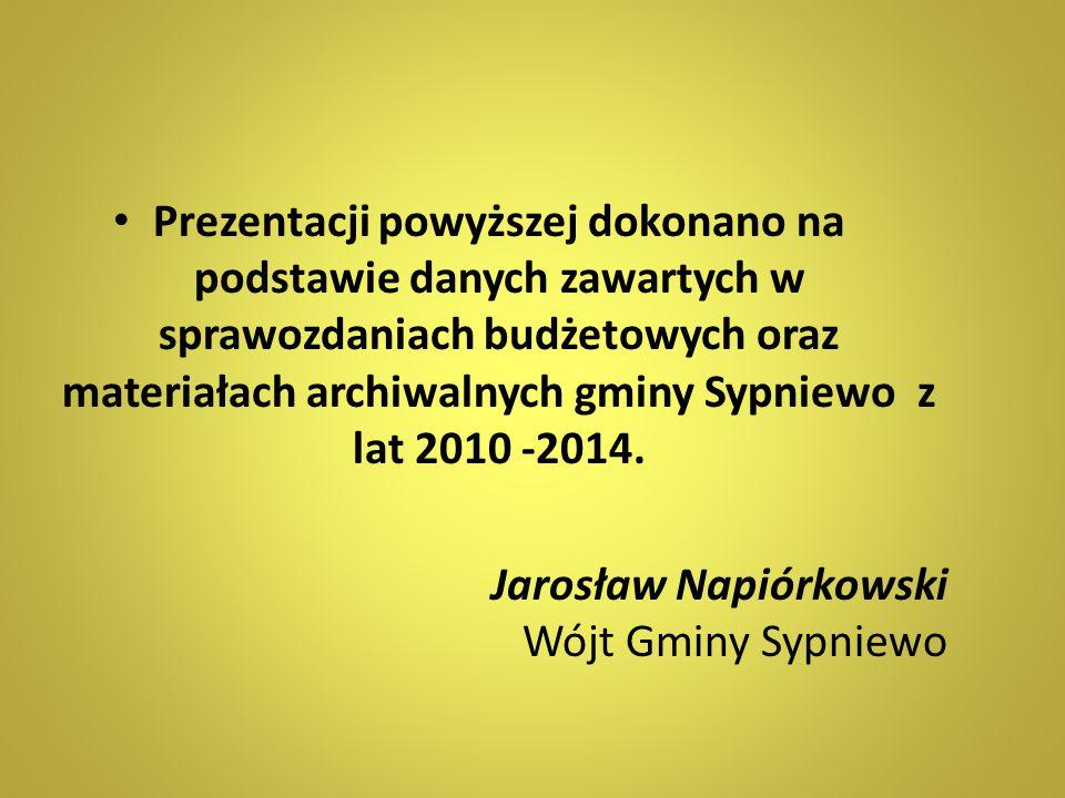 Prezentacji powyższej dokonano na podstawie danych zawartych w sprawozdaniach budżetowych oraz materiałach archiwalnych gminy Sypniewo z lat 2010 -201