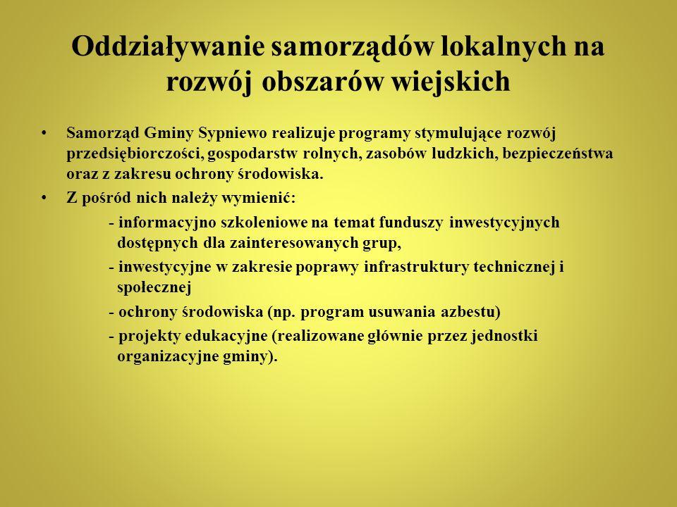 Oddziaływanie samorządów lokalnych na rozwój obszarów wiejskich Samorząd Gminy Sypniewo realizuje programy stymulujące rozwój przedsiębiorczości, gosp