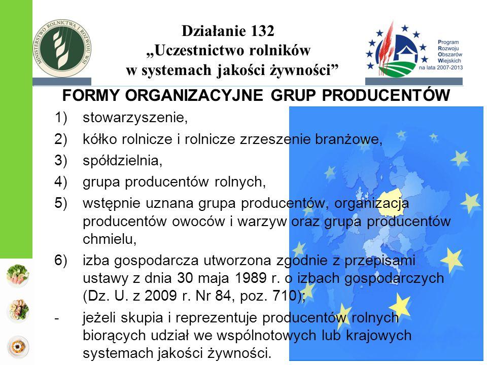 FORMY ORGANIZACYJNE GRUP PRODUCENTÓW 1)stowarzyszenie, 2)kółko rolnicze i rolnicze zrzeszenie branżowe, 3)spółdzielnia, 4)grupa producentów rolnych, 5)wstępnie uznana grupa producentów, organizacja producentów owoców i warzyw oraz grupa producentów chmielu, 6)izba gospodarcza utworzona zgodnie z przepisami ustawy z dnia 30 maja 1989 r.