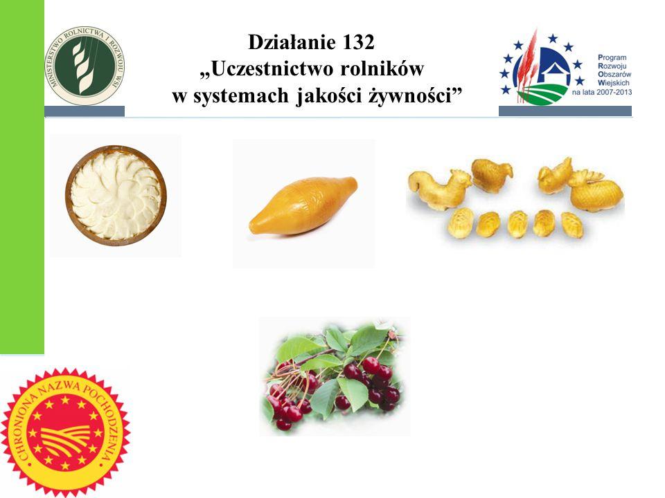 """Działanie 132 """"Uczestnictwo rolników w systemach jakości żywności"""""""