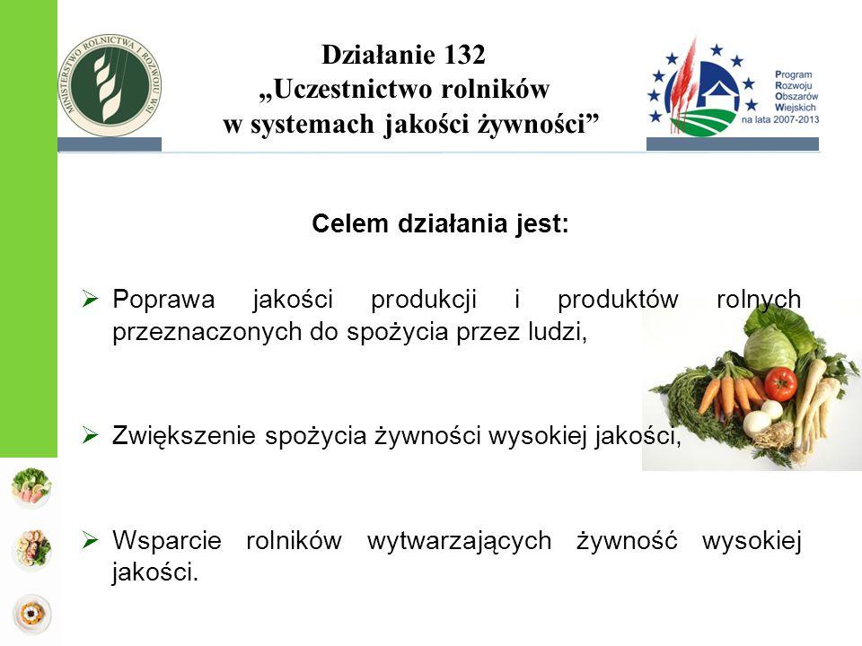 """Działanie 132 """"Uczestnictwo rolników w systemach jakości żywności Celem działania jest:  Poprawa jakości produkcji i produktów rolnych przeznaczonych do spożycia przez ludzi,  Zwiększenie spożycia żywności wysokiej jakości,  Wsparcie rolników wytwarzających żywność wysokiej jakości."""