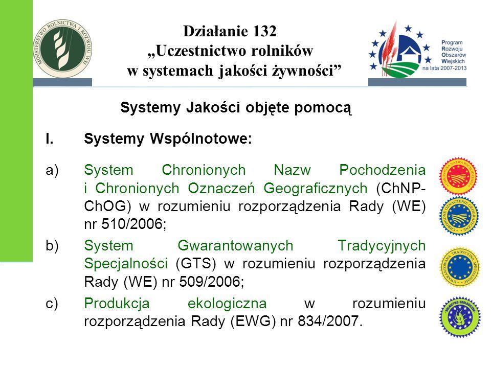 """Działanie 132 """"Uczestnictwo rolników w systemach jakości żywności"""" Systemy Jakości objęte pomocą I.Systemy Wspólnotowe: a)System Chronionych Nazw Poch"""