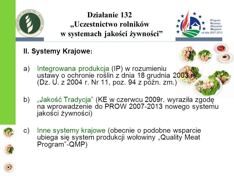 """Działanie 132 """"Uczestnictwo rolników w systemach jakości żywności"""" II. Systemy Krajowe : a)Integrowana produkcja (IP) w rozumieniu ustawy o ochronie r"""