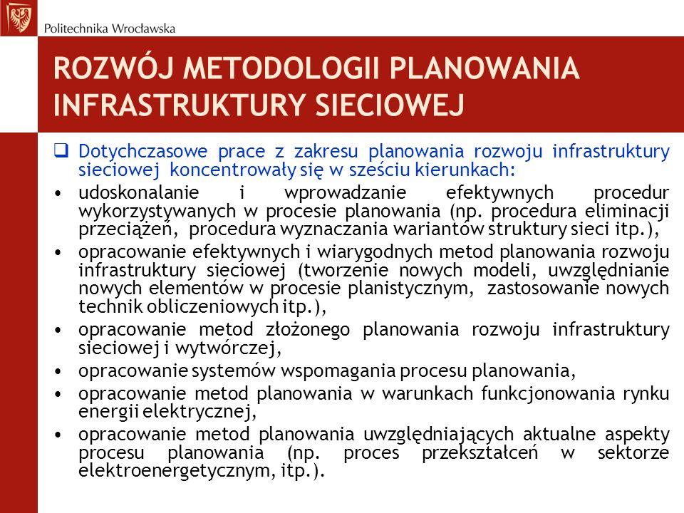 ROZWÓJ METODOLOGII PLANOWANIA INFRASTRUKTURY SIECIOWEJ  Dotychczasowe prace z zakresu planowania rozwoju infrastruktury sieciowej koncentrowały się w sześciu kierunkach: udoskonalanie i wprowadzanie efektywnych procedur wykorzystywanych w procesie planowania (np.