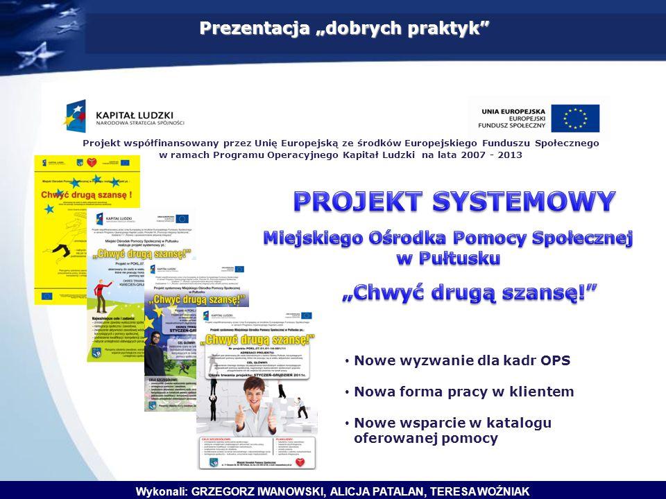"""Prezentacja """"dobrych praktyk"""" Projekt współfinansowany przez Unię Europejską ze środków Europejskiego Funduszu Społecznego w ramach Programu Operacyjn"""