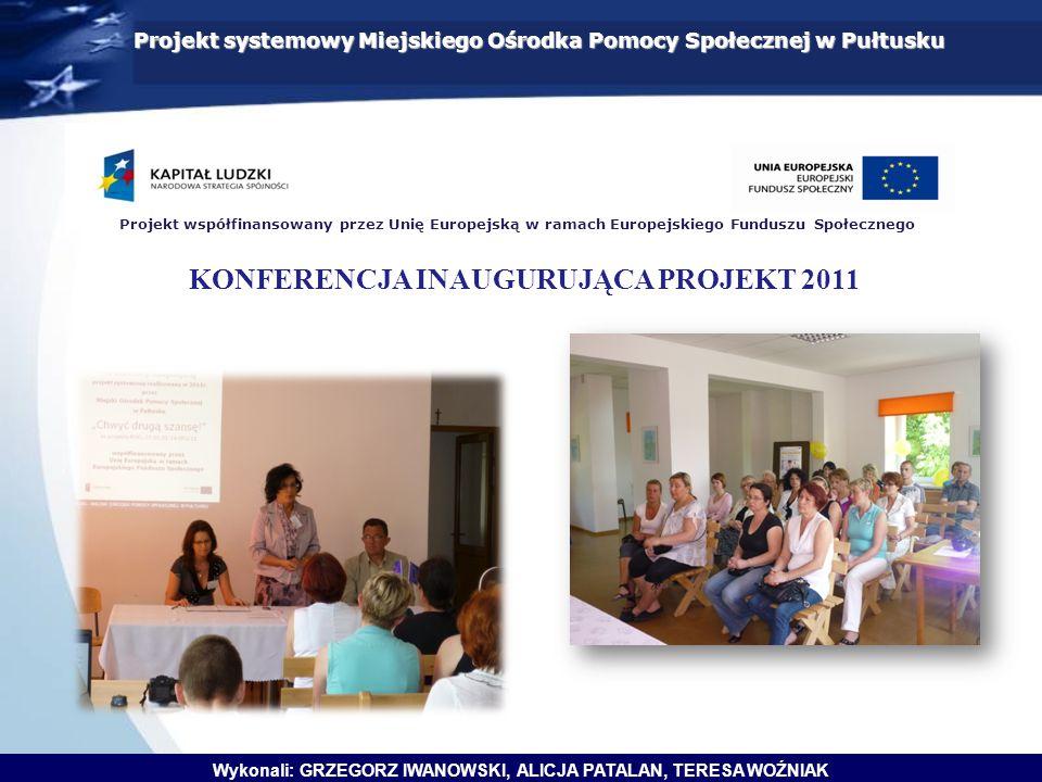 Wykonali: GRZEGORZ IWANOWSKI, ALICJA PATALAN, TERESA WOŹNIAK Projekt systemowy Miejskiego Ośrodka Pomocy Społecznej w Pułtusku Projekt współfinansowan