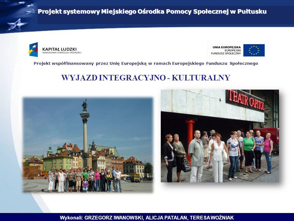 Projekt systemowy Miejskiego Ośrodka Pomocy Społecznej w Pułtusku Wykonali: GRZEGORZ IWANOWSKI, ALICJA PATALAN, TERESA WOŹNIAK Projekt współfinansowan