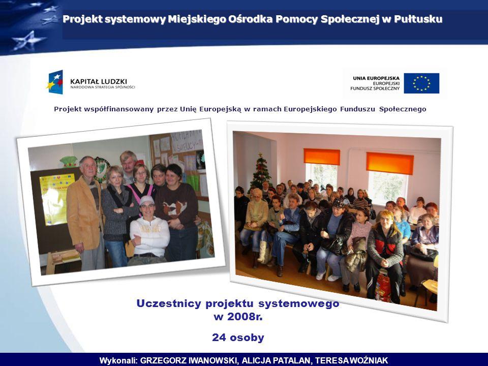 Projekt współfinansowany przez Unię Europejską w ramach Europejskiego Funduszu Społecznego Projekt systemowy Miejskiego Ośrodka Pomocy Społecznej w Pułtusku Uczestnicy projektu systemowego w 2008r.