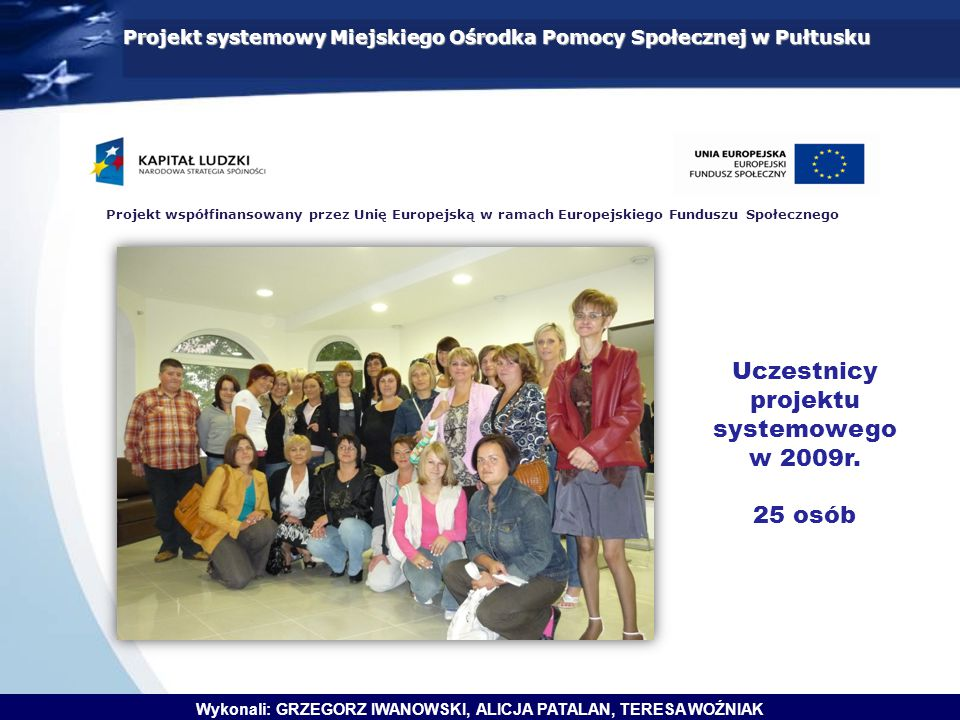 Projekt systemowy Miejskiego Ośrodka Pomocy Społecznej w Pułtusku Projekt współfinansowany przez Unię Europejską w ramach Europejskiego Funduszu Społecznego Wykonali: GRZEGORZ IWANOWSKI, ALICJA PATALAN, TERESA WOŹNIAK HARMONOGRAM REALIZACJI PROJEKTU IIIIIIIVVVIVIIVIIIIXXXIXII Rekrutacja uczestników projektu Zawarcie kontraktów socjalnych Zajęcia z psychologiem Zajęcia z doradcą zawodowym Warsztaty z autoprezentacji Zajęcia z prawnikiem Kursy zawodowe Wyjazd integracyjno - kulturalny Spotkanie integracyjne