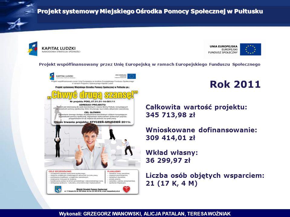 Projekt systemowy Miejskiego Ośrodka Pomocy Społecznej w Pułtusku Projekt współfinansowany przez Unię Europejską w ramach Europejskiego Funduszu Społe