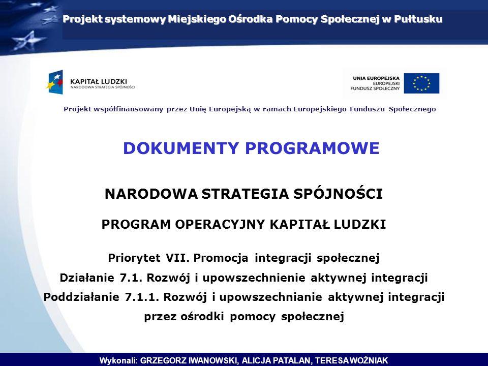 Projekt systemowy Miejskiego Ośrodka Pomocy Społecznej w Pułtusku Projekt współfinansowany przez Unię Europejską w ramach Europejskiego Funduszu Społecznego NARODOWA STRATEGIA SPÓJNOŚCI PROGRAM OPERACYJNY KAPITAŁ LUDZKI Priorytet VII.