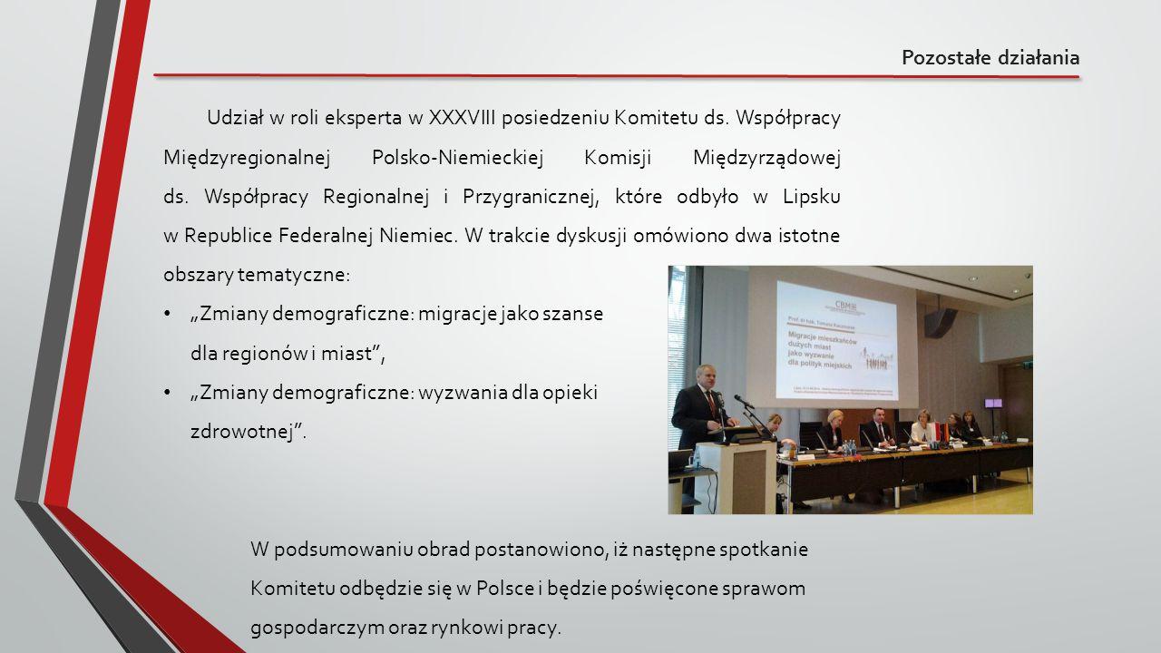 Pozostałe działania Udział w roli eksperta w XXXVIII posiedzeniu Komitetu ds. Współpracy Międzyregionalnej Polsko-Niemieckiej Komisji Międzyrządowej d