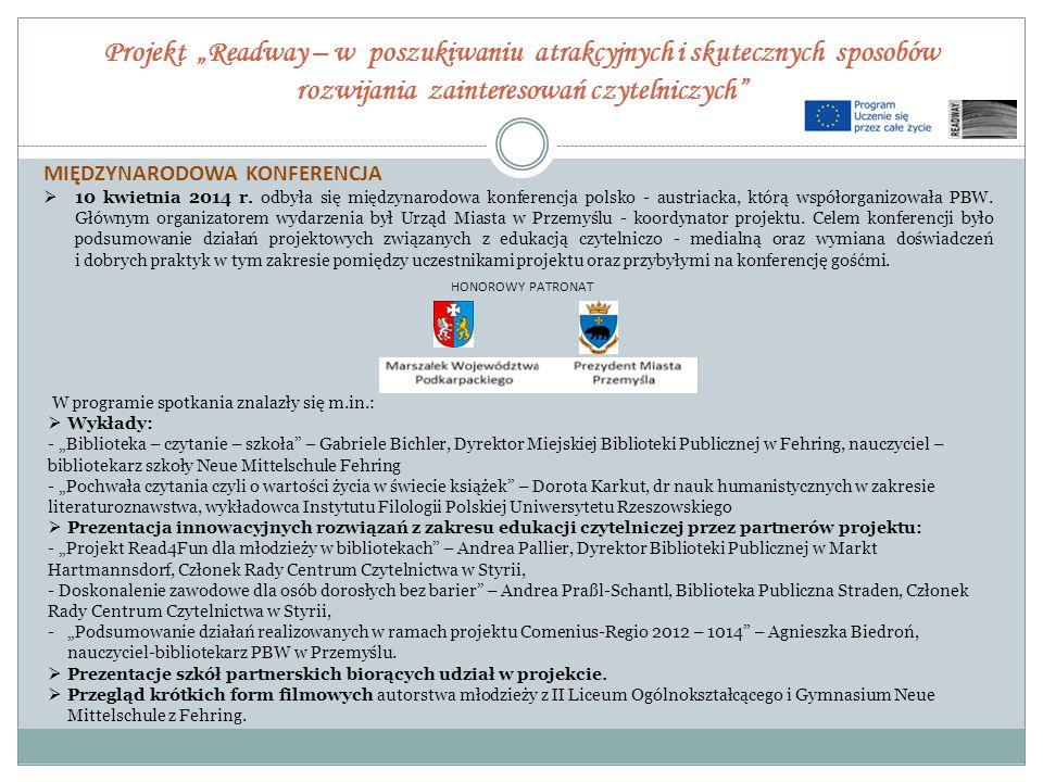 """Projekt """"Readway – w poszukiwaniu atrakcyjnych i skutecznych sposobów rozwijania zainteresowań czytelniczych"""" MIĘDZYNARODOWA KONFERENCJA  10 kwietnia"""