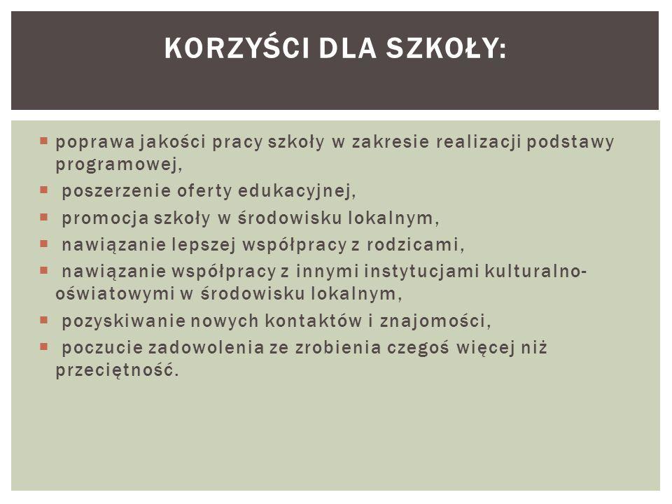  poprawa jakości pracy szkoły w zakresie realizacji podstawy programowej,  poszerzenie oferty edukacyjnej,  promocja szkoły w środowisku lokalnym,