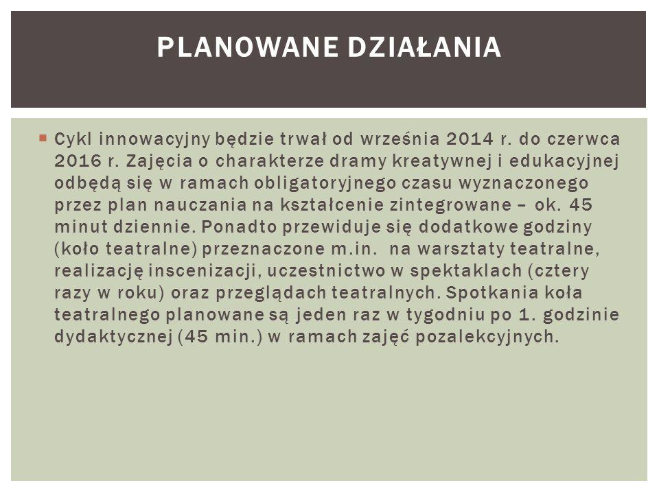  Cykl innowacyjny będzie trwał od września 2014 r. do czerwca 2016 r. Zajęcia o charakterze dramy kreatywnej i edukacyjnej odbędą się w ramach obliga