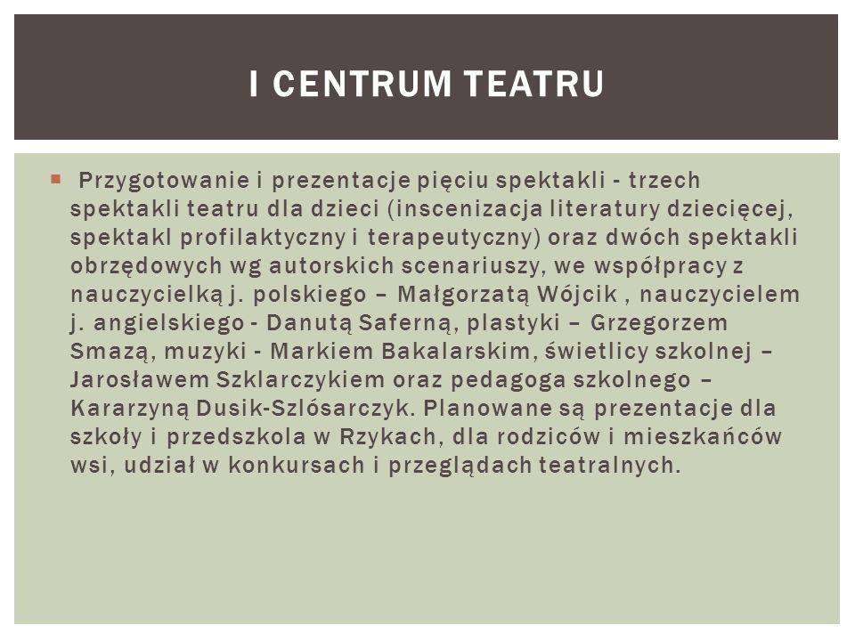  Przygotowanie i prezentacje pięciu spektakli - trzech spektakli teatru dla dzieci (inscenizacja literatury dziecięcej, spektakl profilaktyczny i ter