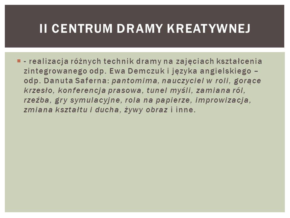  - realizacja różnych technik dramy na zajęciach kształcenia zintegrowanego odp. Ewa Demczuk i języka angielskiego – odp. Danuta Saferna: pantomima,