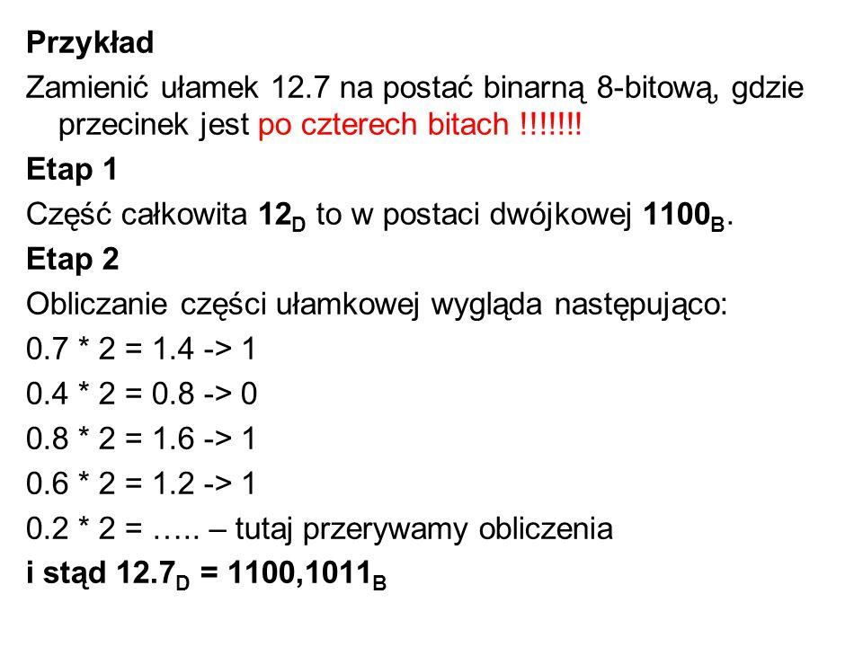 Przykład Zamienić ułamek 12.7 na postać binarną 8-bitową, gdzie przecinek jest po czterech bitach !!!!!!! Etap 1 Część całkowita 12 D to w postaci dwó