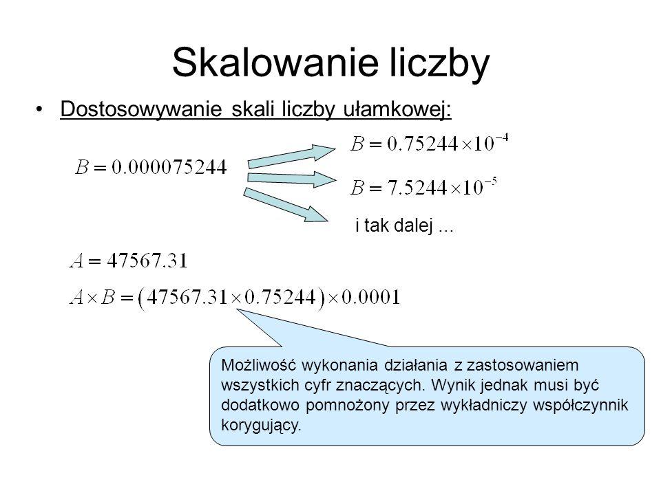Skalowanie liczby Dostosowywanie skali liczby ułamkowej: i tak dalej...