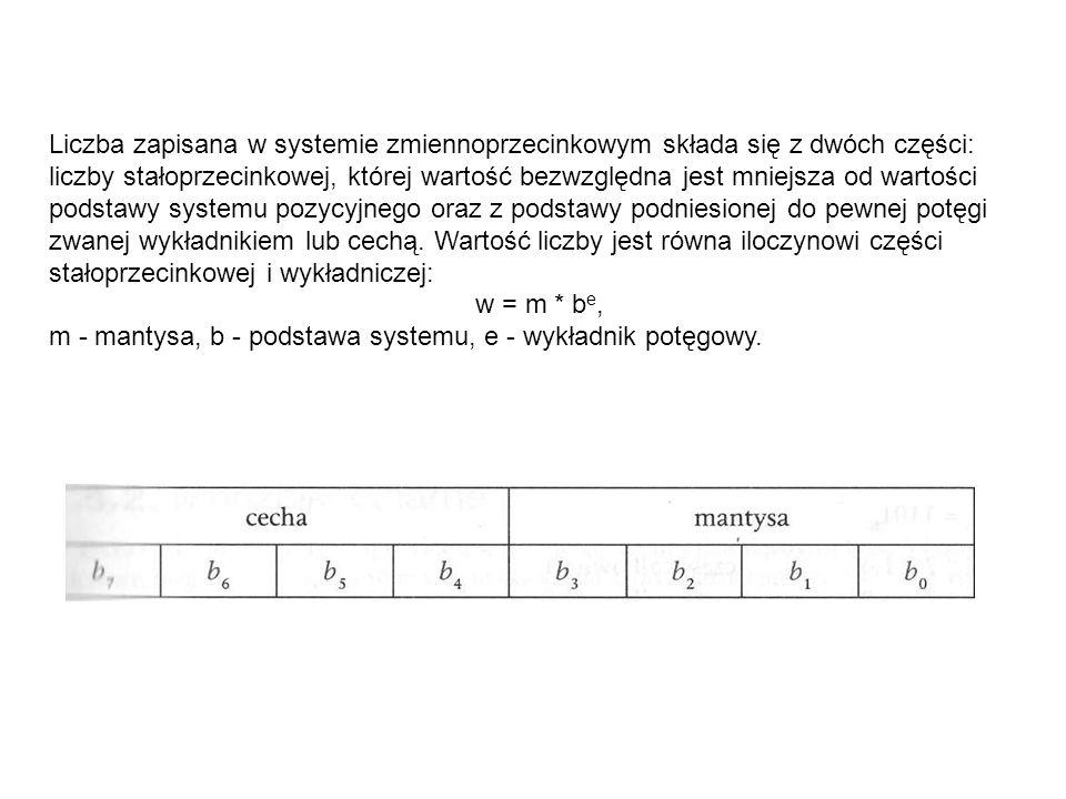 Liczba zapisana w systemie zmiennoprzecinkowym składa się z dwóch części: liczby stałoprzecinkowej, której wartość bezwzględna jest mniejsza od wartości podstawy systemu pozycyjnego oraz z podstawy podniesionej do pewnej potęgi zwanej wykładnikiem lub cechą.