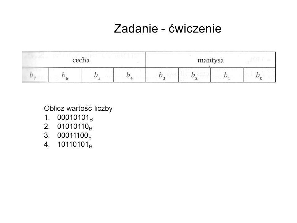 Zadanie - ćwiczenie Oblicz wartość liczby 1. 00010101 B 2. 01010110 B 3. 00011100 B 4. 10110101 B e = 0*(-2 3 ) + 0*2 2 + 0*2 1 + 1*2 0 = 0 + 0 +0+ 1
