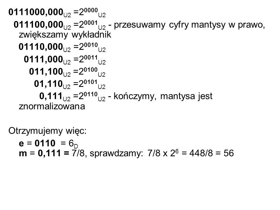 0111000,000 U2 =2 0000 U2 011100,000 U2 =2 0001 U2 - przesuwamy cyfry mantysy w prawo, zwiększamy wykładnik 01110,000 U2 =2 0010 U2 0111,000 U2 =2 001