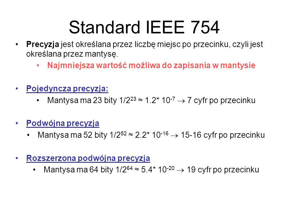 Standard IEEE 754 Precyzja jest określana przez liczbę miejsc po przecinku, czyli jest określana przez mantysę. Najmniejsza wartość możliwa do zapisan