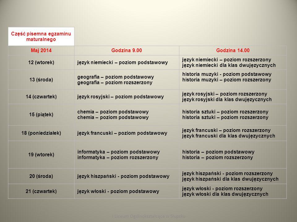 Część pisemna egzaminu maturalnego Maj 2014Godzina 9.00Godzina 14.00 22 (piątek) języki mniejszości narodowych – poziom podstawowy język kaszubski – poziom podstawowy język łemkowski – poziom podstawowy języki mniejszości narodowych – poziom rozszerzony I Liceum Ogólnokształcące w Słupsku Część ustna egzaminu maturalnego od 4 do 29 maja 2015 r.