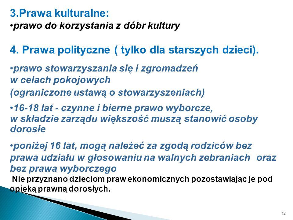 12 3.Prawa kulturalne: prawo do korzystania z dóbr kultury 4. Prawa polityczne ( tylko dla starszych dzieci). prawo stowarzyszania się i zgromadzeń w