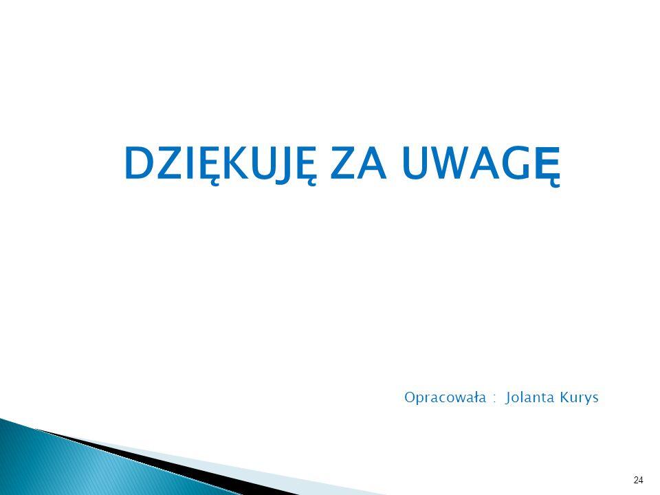 Opracowała : Jolanta Kurys DZIĘKUJĘ ZA UWAG Ę 24