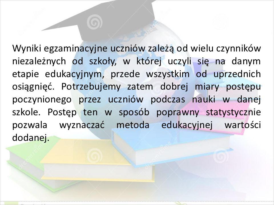 Wyniki egzaminacyjne uczniów zależą od wielu czynników niezależnych od szkoły, w której uczyli się na danym etapie edukacyjnym, przede wszystkim od up