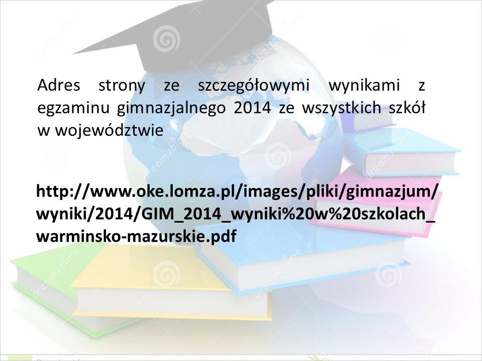 http://www.oke.lomza.pl/images/pliki/gimnazjum/ wyniki/2014/GIM_2014_wyniki%20w%20szkolach_ warminsko-mazurskie.pdf Adres strony ze szczegółowymi wyni