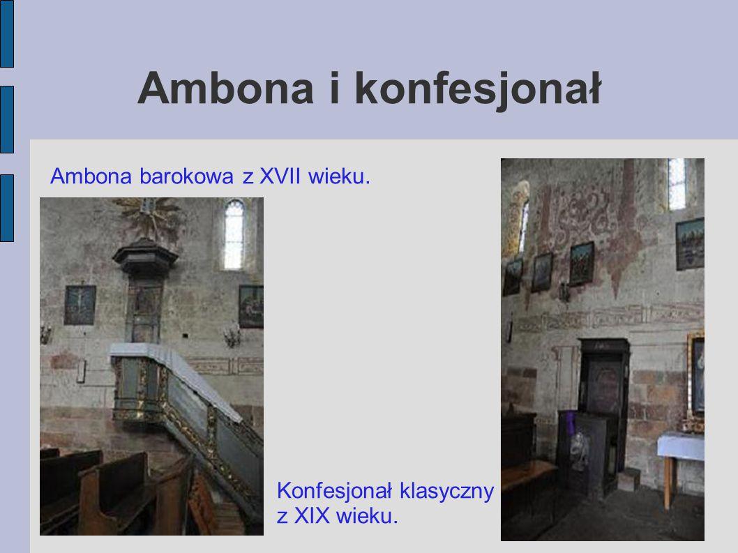 Chrzcielnice Chrzcielnica gotycka z XIV wieku, obecnie kropielnica stojąca w przedsionku Chrzcielnica późnobarokowa z XVIII.