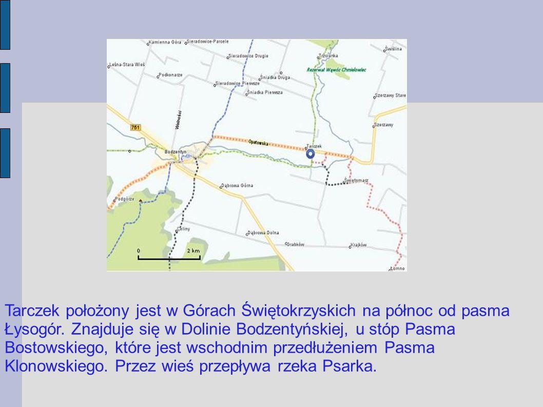 Tarczek leżał na ważnym szlaku handlowym wiodącym z Rusi przez Zawichost lub Sandomierz, na południe ku Krakowowi.