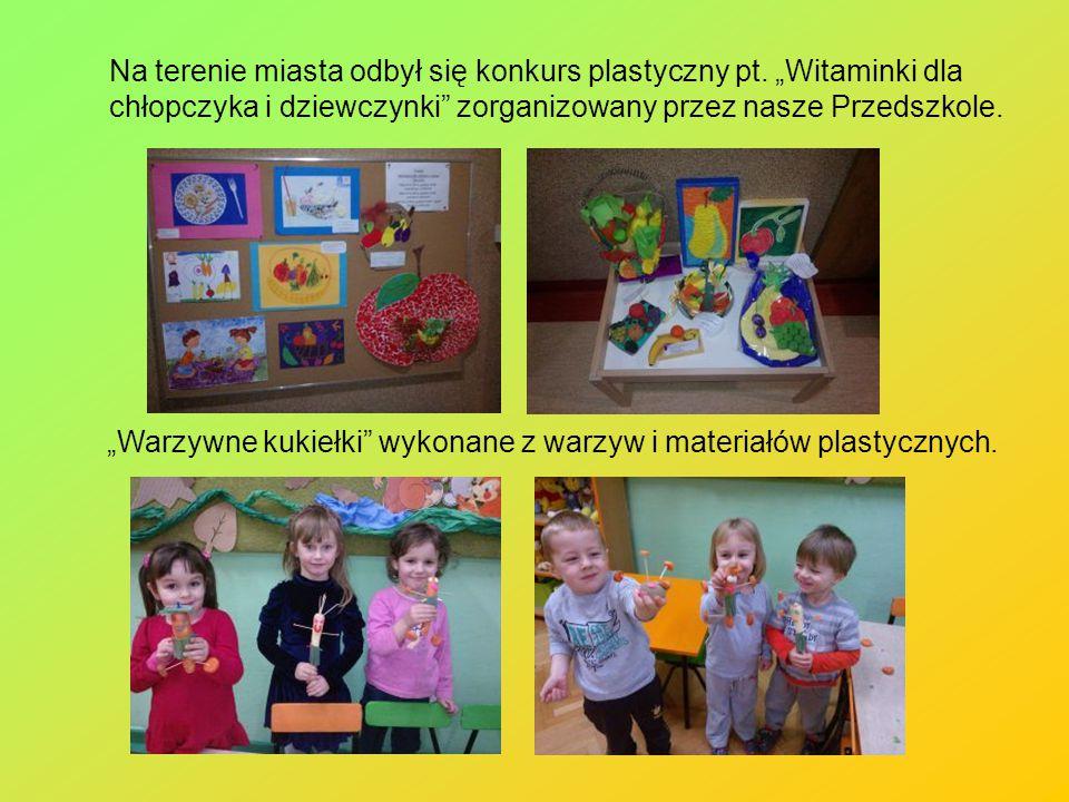 """Na terenie miasta odbył się konkurs plastyczny pt. """"Witaminki dla chłopczyka i dziewczynki"""" zorganizowany przez nasze Przedszkole. """"Warzywne kukiełki"""""""