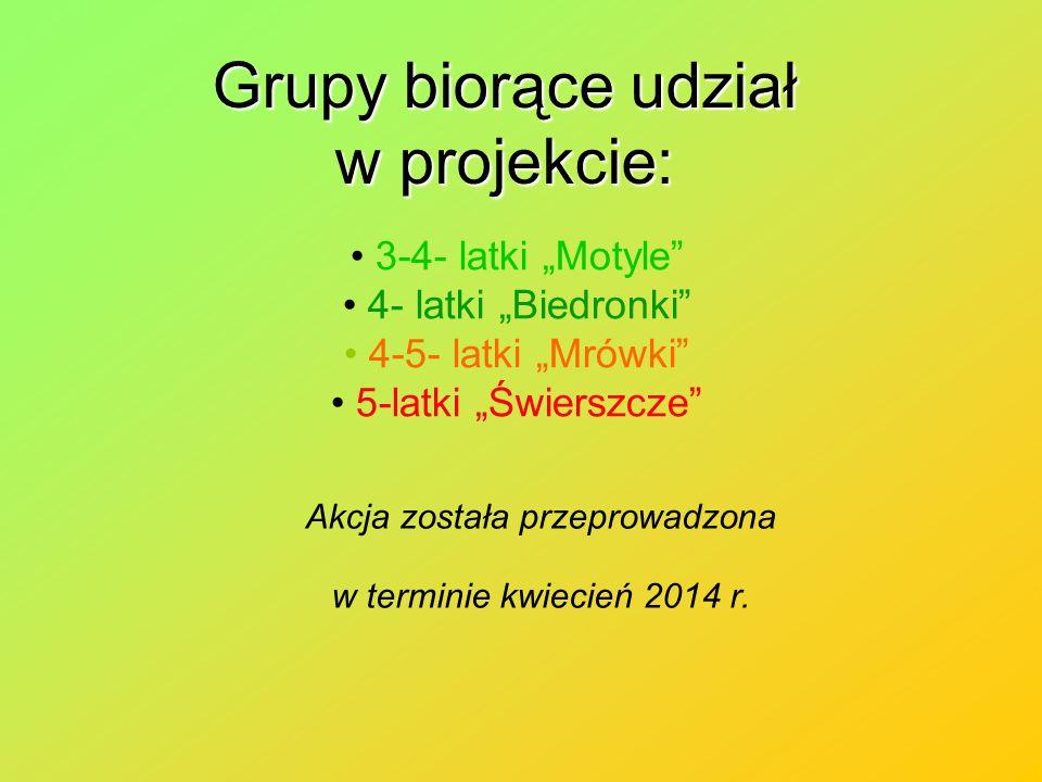 """Grupy biorące udział w projekcie: 3-4- latki """"Motyle 4- latki """"Biedronki 4-5- latki """"Mrówki 5-latki """"Świerszcze Akcja została przeprowadzona w terminie kwiecień 2014 r."""