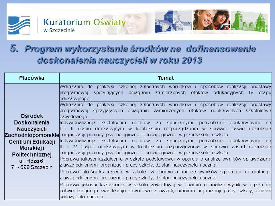 5. Program wykorzystania środków na dofinansowanie doskonalenia nauczycieli w roku 2013 PlacówkaTemat Ośrodek Doskonalenia Nauczycieli Zachodniopomors