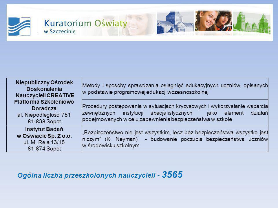 Niepubliczny Ośrodek Doskonalenia Nauczycieli CREATIVE Platforma Szkoleniowo Doradcza al.
