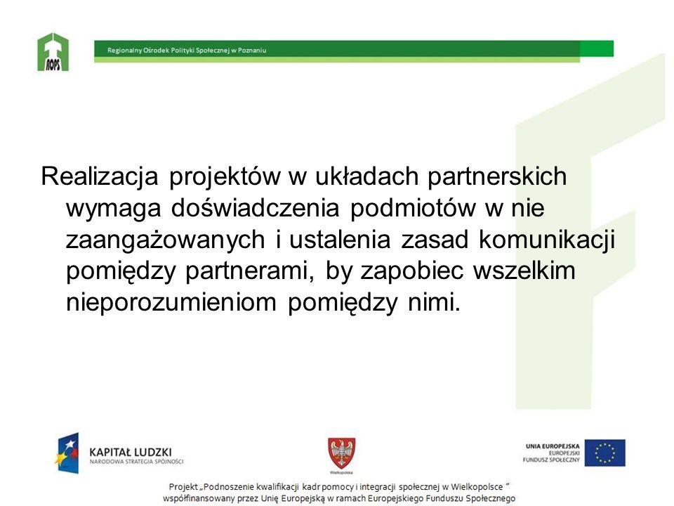 Realizacja projektów w układach partnerskich wymaga doświadczenia podmiotów w nie zaangażowanych i ustalenia zasad komunikacji pomiędzy partnerami, by
