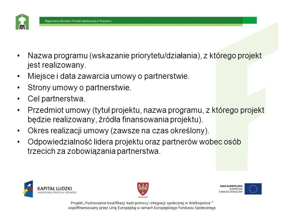 Nazwa programu (wskazanie priorytetu/działania), z którego projekt jest realizowany. Miejsce i data zawarcia umowy o partnerstwie. Strony umowy o part