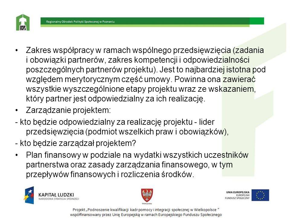 Zakres współpracy w ramach wspólnego przedsięwzięcia (zadania i obowiązki partnerów, zakres kompetencji i odpowiedzialności poszczególnych partnerów p