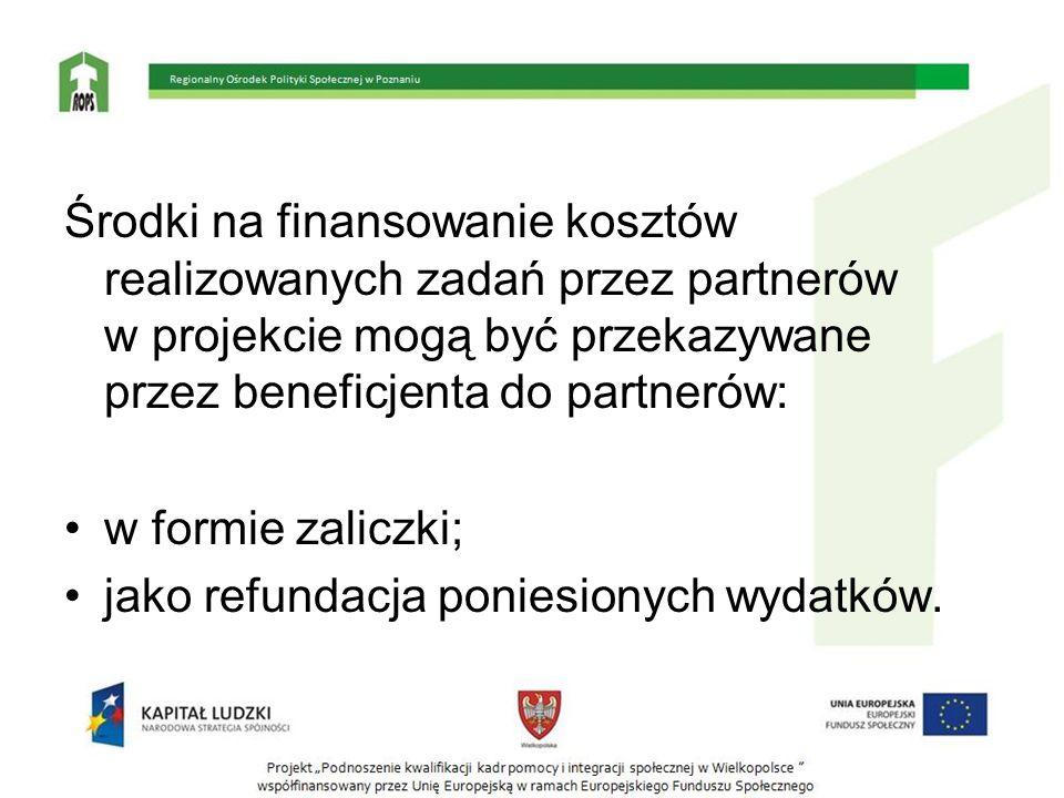Środki na finansowanie kosztów realizowanych zadań przez partnerów w projekcie mogą być przekazywane przez beneficjenta do partnerów: w formie zaliczk