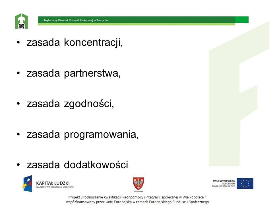 zasada koncentracji, zasada partnerstwa, zasada zgodności, zasada programowania, zasada dodatkowości