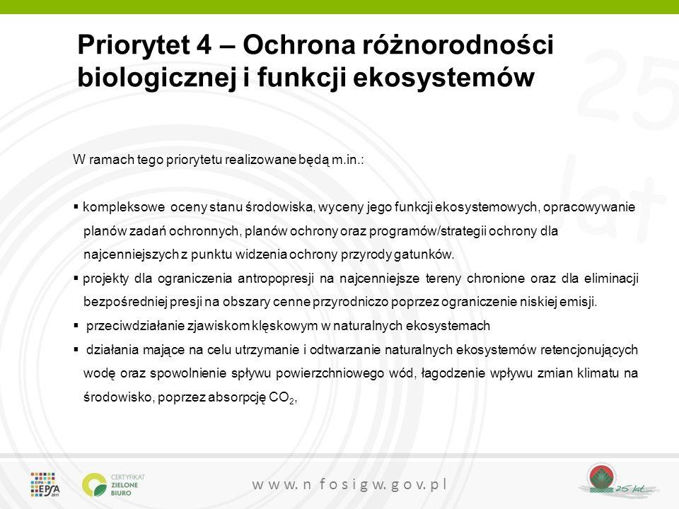 25 lat w w w. n f o s i g w. g o v. p l Priorytet 4 – Ochrona różnorodności biologicznej i funkcji ekosystemów W ramach tego priorytetu realizowane bę